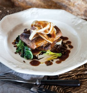 Pan-Seared Calf's Liver with Bacon Lentils, Sautéed Greens and Caramelized Onion-Balsamic-Vinegar Sauce