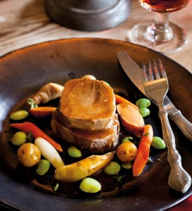 Braised Tongue with Baby Vegetables, Potatoes and Beef Gravy