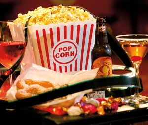 In addition to the usual treats that are available at the theater's concession stand, adults can order their favorite beverages.