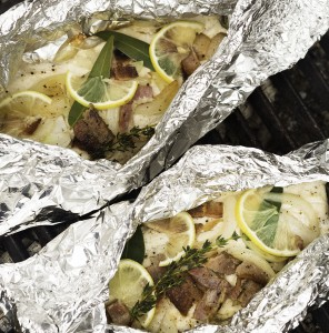 Campfire-Cooked Trout with Bacon, Onions, Lemon and Herbs