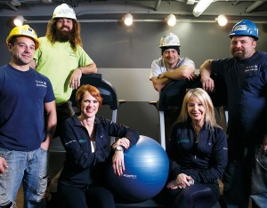 Taking advantage of the company gym at Dutchland, Inc., are (seated, left to right) Sylvia Kauffman and Amy Jaros. Standing are: Dave Pennington, Austin Smoker, Coby Long and Don Liney.