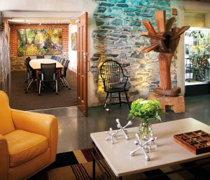 Art of many mediums provides the décor at the Lancaster Arts Hotel.