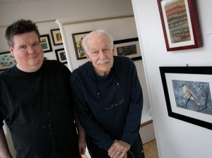 Tim Dietze (left), who painted the bird seen on the right, with his mentor and Local Partner Artist, Bob Grobengieser.