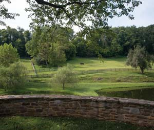 Tranquil farm ponds, rolling hills and woodland define Kynynmont Farm in Conestoga.