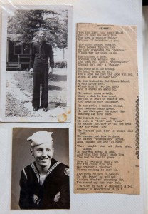 Karl is pictured as a young Seabee. Shown is the poem he wrote that detailed his service.