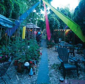The center of the backyard is dedicated to growing vegetables and herbs in containers. The colorful flags are a memento of a vacation in California.