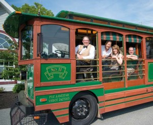 Now you can see Columbia via the RiverTowne Trolley Company. Aboard the trolley is conductor/owner Andre Underhill, tour guide Paul Fahringer, owner Kelly Underhill, and Columbia History Preservation Society Director Chris Vera. For details, visit parivertowns.org.