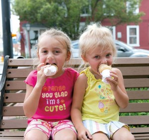 The benches on the square in Strasburg are filled with ice cream lovers that are drawn to the Strasburg Creamery during the warm weather months.