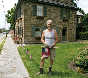 """Brad Botchlet, who calls himself """"a transplant,"""" moved to Strasburg 14 years ago. When he was told we were doing a story about small town living, he responded, """"You certainly came to the right place."""" Brad says his house, which dates to 1750, brought him to Strasburg."""