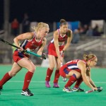 Jill Witmer (left), who played for Penn Manor and the University of Maryland, and Alyssa Manley (right), who played for Warwick and Syracuse University, were named to the women's Olympic Field Hockey Team on July 1. The player in the center is Rachel Dawson, who was also named to the team.