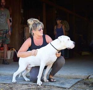 Janine with Hugo, who is deaf.