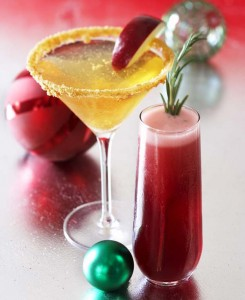 Gingerbread Apple Crisp Martini & Grand Poinsettia Cocktail