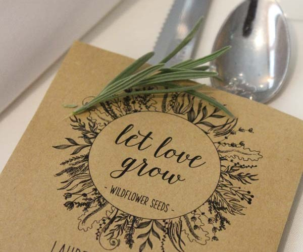 Even guest favors served as a tie-in to the theme: the packets held wildflower seeds.