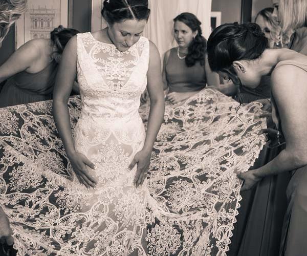 Lauren's gown exemplifies the popularity of lace.