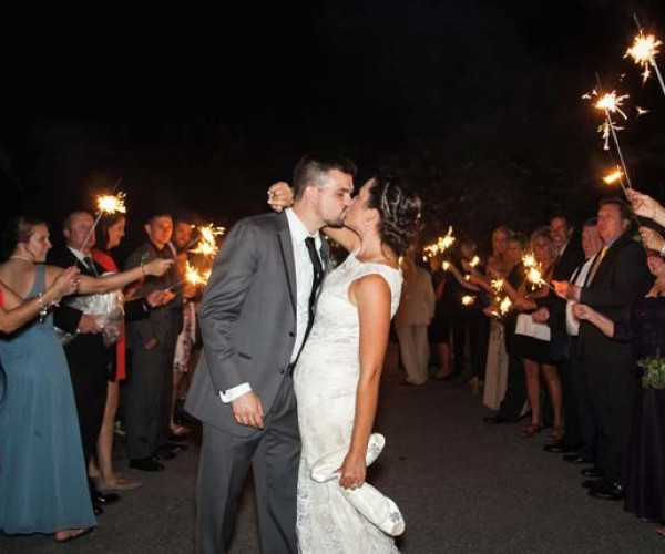 Anthony and Lauren's departure received a sparkler salute.