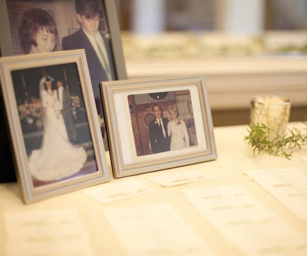 Family wedding photos decorated the reception area.