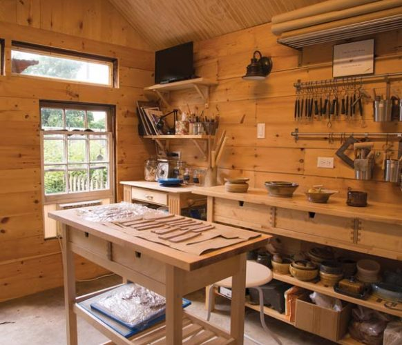 The interior of the light-filled studio is equipped with all the tools and materials Sheri needs to create her pottery pieces. Work tables help to keep things neat and organized. The firing and glazing processes are handled at Lancaster Clay Studios in Landisville.