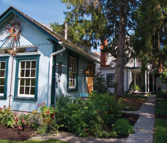 What was originally a chicken house has been given a new lease on life as Sheri's pottery studio. The studio allows her to make the transition from work to home without leaving the property.