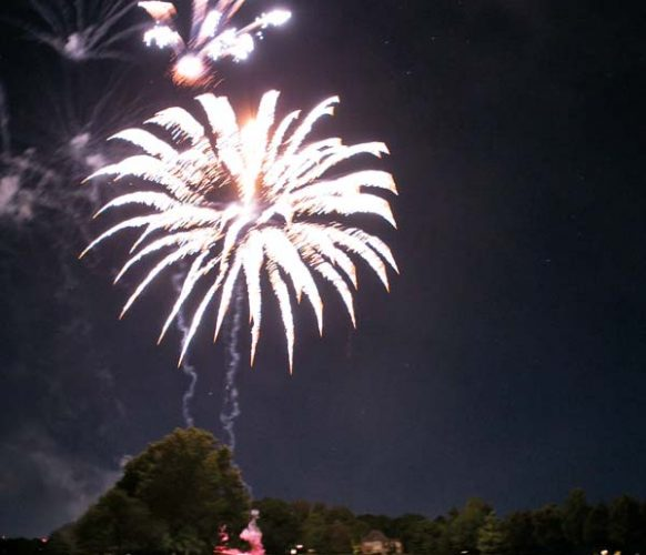 Her show culminated in a fireworks display color keyed to the party.