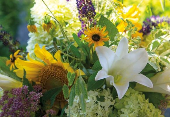 Floral arrangements were composed of fresh-cut items from the garden.
