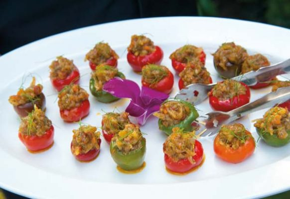 Stuffed peppers were served as an hors d'oeuvre.