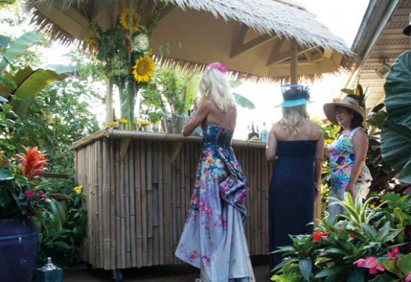 The tiki bar that James built for a previous event staged a return appearance for the party.
