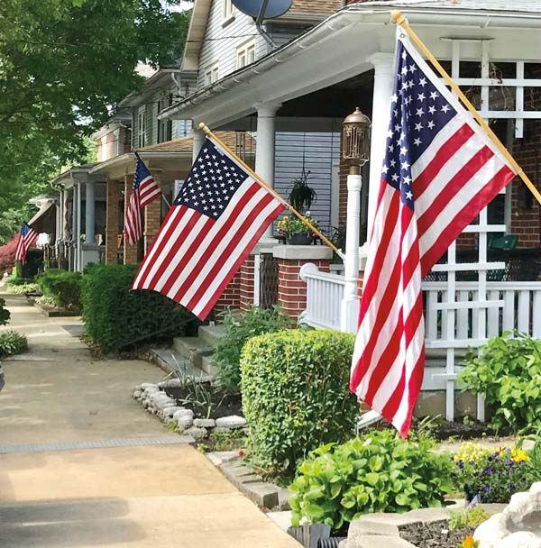 American flags are displayed throughout Lititz on a year-round basis.