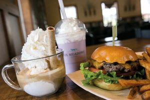 On the menu: Start with a cheeseburger and fries, add a black raspberry frappe, and finish with the brown butter almond brickle affogato.
