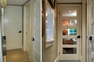 Wanting to add natural light to a drafty hallway that connects the laundry/utility room to the kitchen, Bruce searched for a glass door to replace the wood door. Not finding anything appropriate, the idea occurred that the inset panels could be removed and replaced with glass. Now, natural light illuminates the hallway, and the kitchen is draft-free.